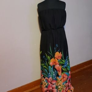 Black Maxi Dress with Multi-Colored Flowers